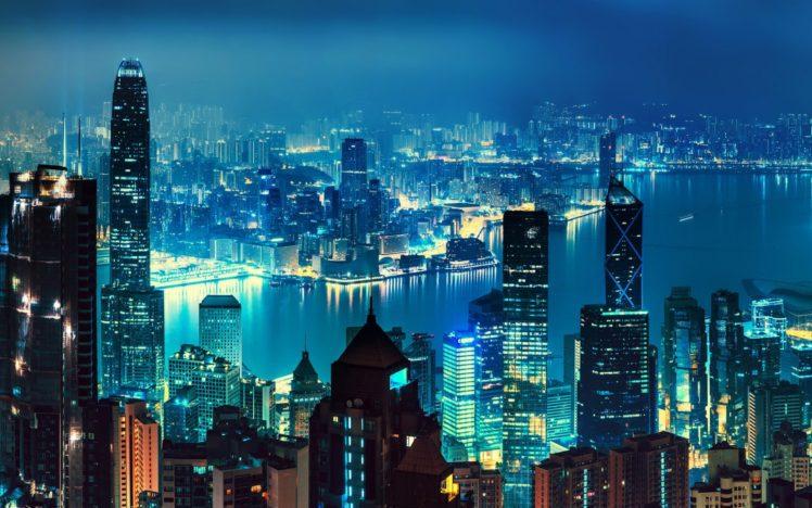 Hong Kong, Nighscape, Landscape, Cityscape HD Wallpaper Desktop Background