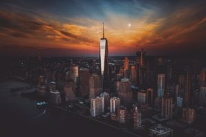 cityscape, New York City, Sunset, Skyscraper, One World Trade Center