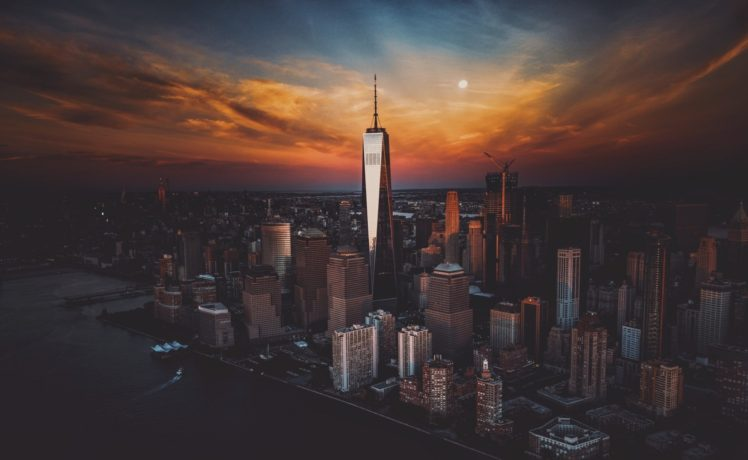 Cityscape New York City Sunset Skyscraper One World Trade Center Hd Wallpapers Desktop And Mobile Images Photos