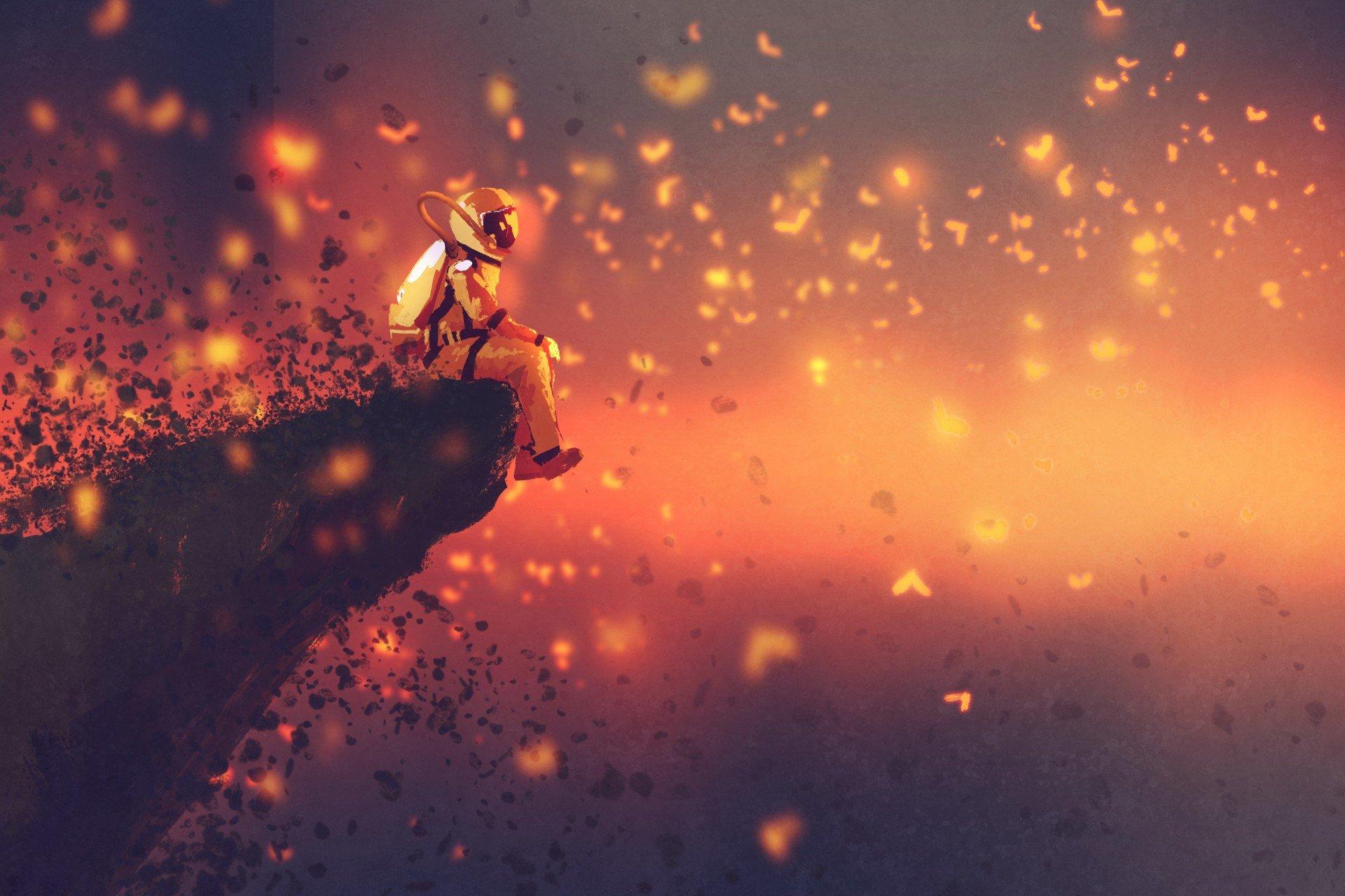 Astronaut digital art butterfly hd wallpapers desktop - Art wallpaper hd for mobile ...