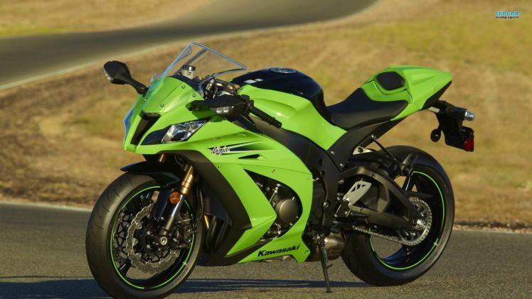 Kawasaki Ninja ZX 10R Motorcycle Green Superbike HD Wallpaper Desktop Background