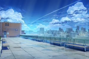 rooftops, School, Games art, Backgound, Anime art