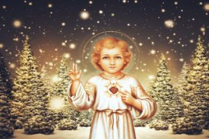 children, Jesus Christ, Christmas, Pine trees, Lights, Halo