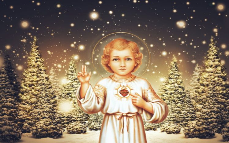 children, Jesus Christ, Christmas, Pine trees, Lights, Halo HD Wallpaper Desktop Background