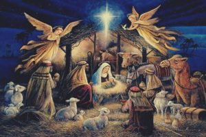 Virgin Mary, Jesus Christ, Christmas, Lights, Angel, Night, Religion, Painting, Christianity