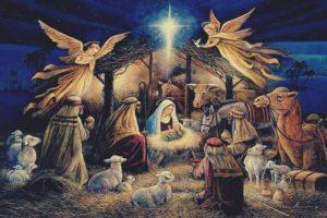 Virgin Mary, Jesus Christ, Christmas, Lights, Angel, Night, Religion, Painting, Christianity