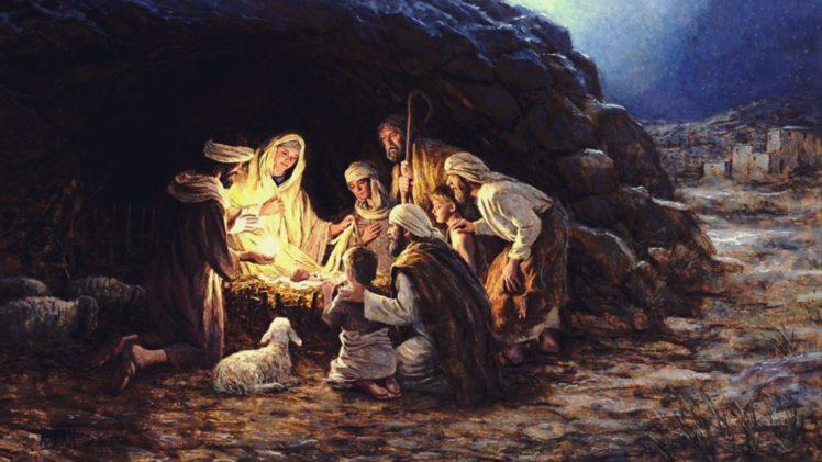 Christmas Jesus Wallpaper.Virgin Mary Jesus Christ Christmas Lights Religion