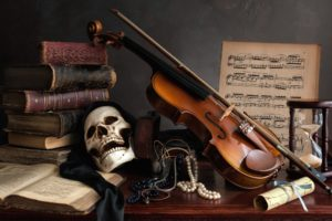 musical notes, Skull, Books, Musical instrument, Violin