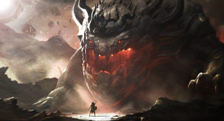 fantasy art, Giant HD Wallpaper Desktop Background