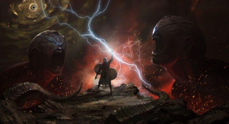 fantasy art, Lightning HD Wallpaper Desktop Background