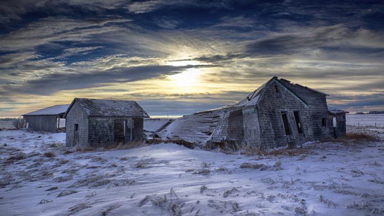 landscape, Winter, Ruin, Sky, Clouds HD Wallpaper Desktop Background