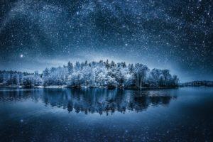 night, Landscape, Winter, Stars, Nature