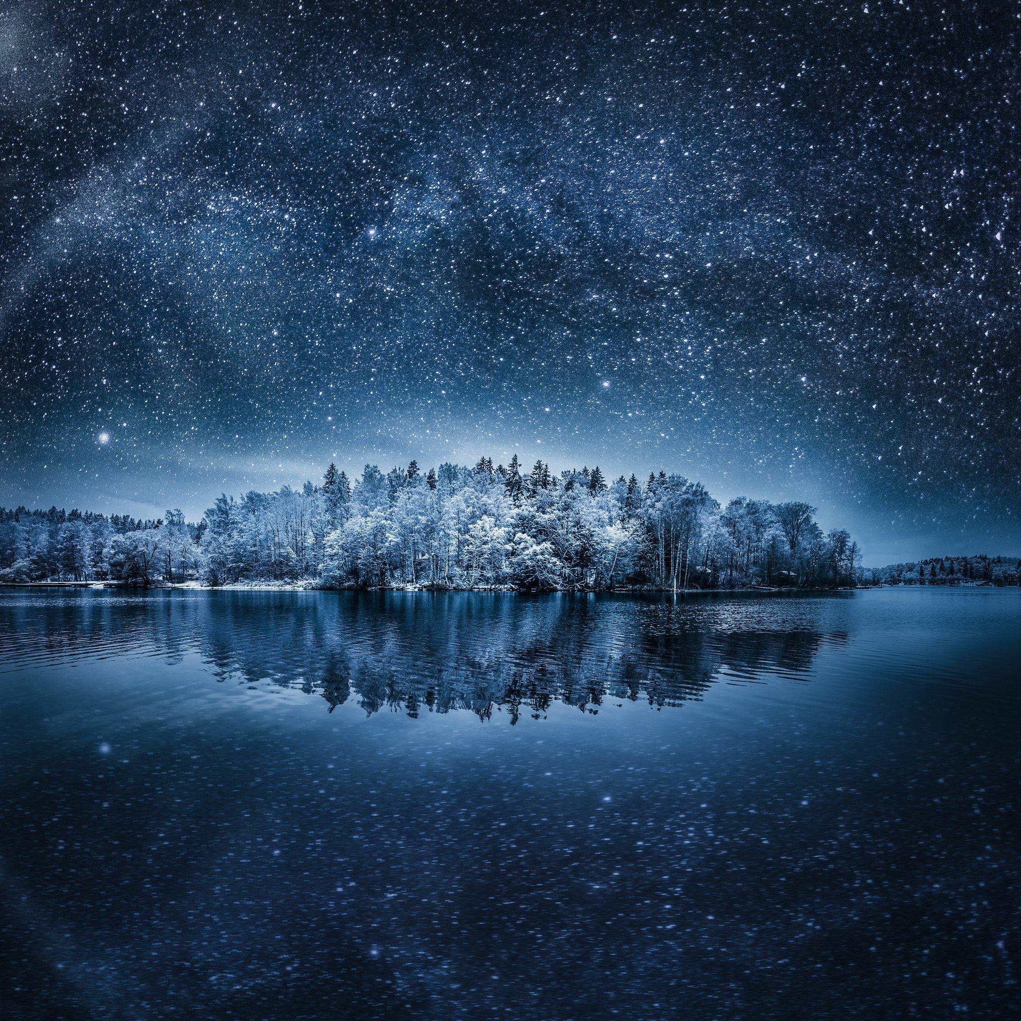 Night, Landscape, Winter, Stars, Nature HD Wallpapers