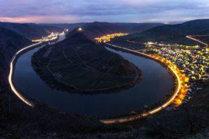 night, River, Light trails, Long exposure