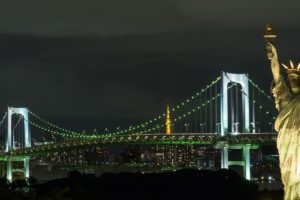 bridge, Night, Statue of Liberty, Japan