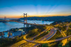 bridge, Road, Sunset