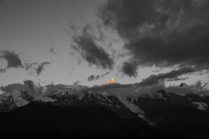 mountains, Clouds, Selective coloring, Nature, Landscape, Snowy peak, Sunset, Sunlight