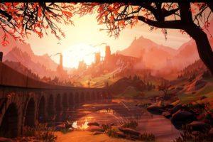 illustration, Sunset, Castle, Artwork