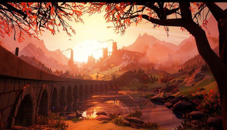 illustration, Sunset, Castle, Artwork HD Wallpaper Desktop Background