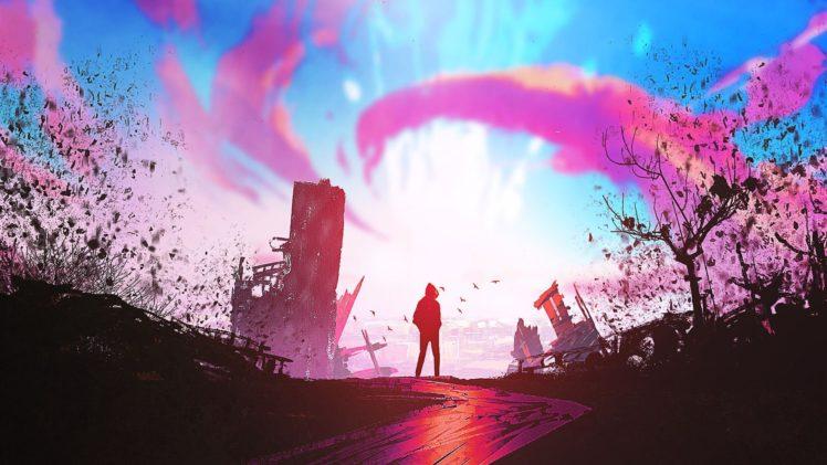 illustration, Sunset, Fantasy art, Artwork HD Wallpaper Desktop Background