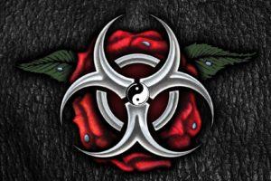 cg artwork, Rose, Leather, Texture, Biohazard, Water drops, Yin and Yang