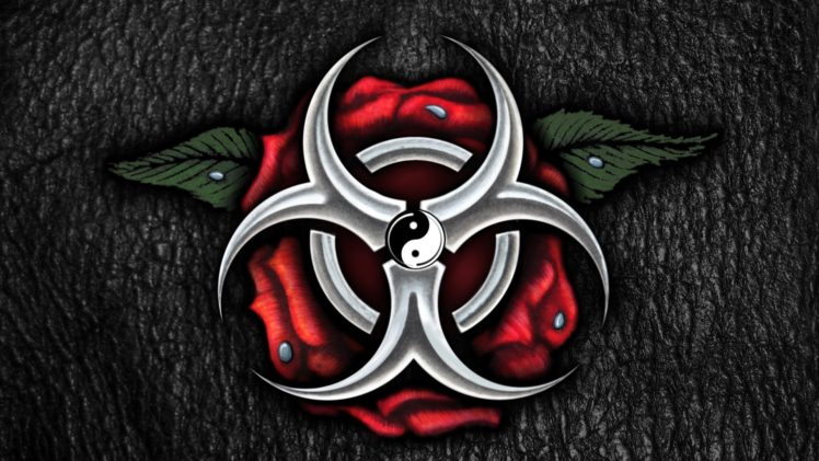 Cg Artwork Rose Leather Texture Biohazard Water Drops Yin And