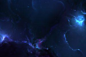 nebula, Space, Blue, Stars, 3D