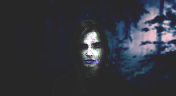 women, Photoshop, Photo manipulation, Glitch art, Blurred, Forest HD Wallpaper Desktop Background