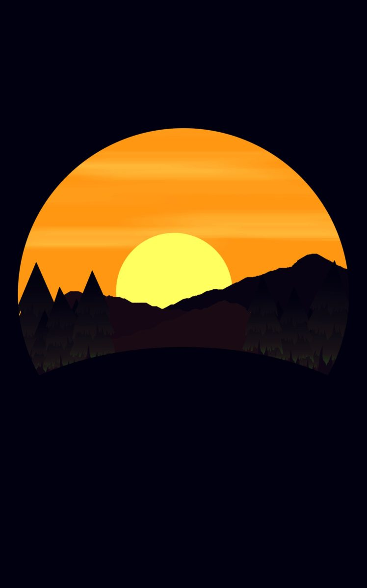 simple background, Digital art, Nature, Landscape, Mountains, Trees, Forest, Sun, Portrait display, Minimalism HD Wallpaper Desktop Background