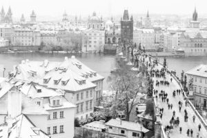 people, Cityscape, Prague, City, Winter