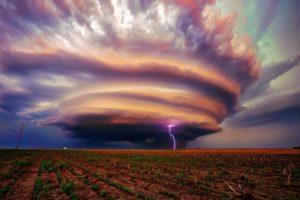 landscape, Storm, Lightning, Field, Tornado