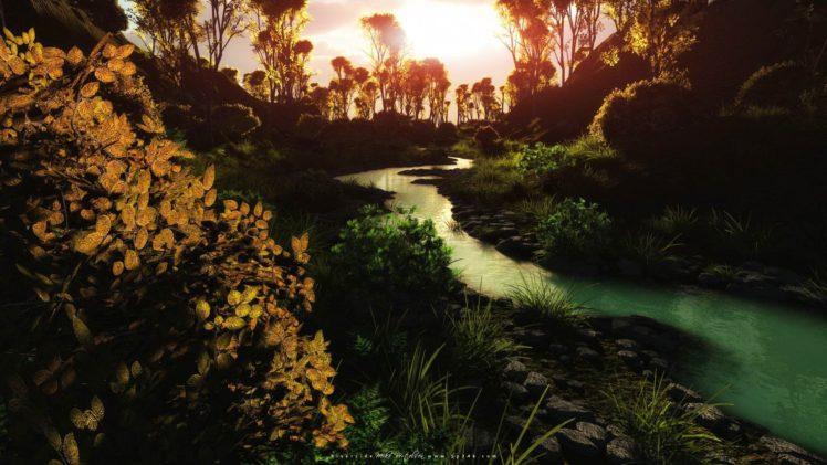 landscape, Stream, Leaves HD Wallpaper Desktop Background