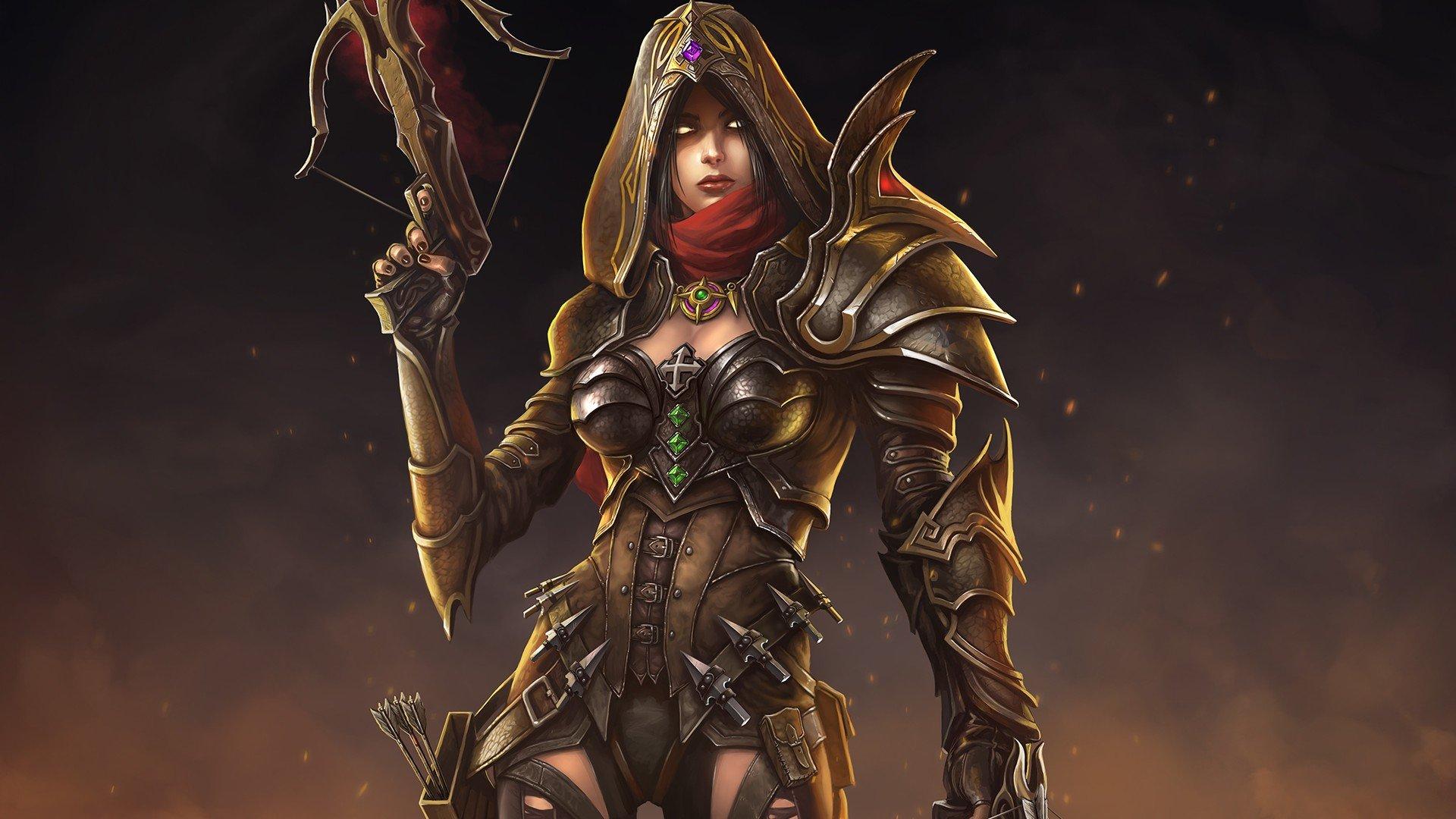 Women Valla Fantasy Art Diablo Iii Video Games Demon Hunter Diablo Hd Wallpapers Desktop And Mobile Images Photos