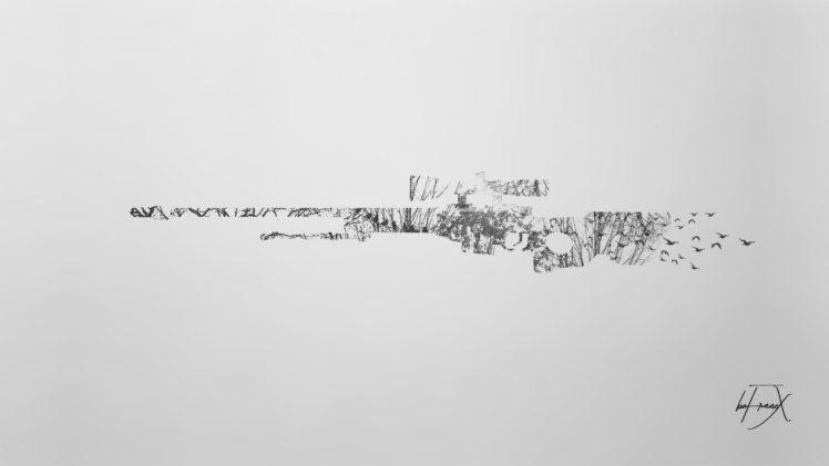 sniper rifle, Counter Strike: Global Offensive, Minimalism, Double exposure HD Wallpaper Desktop Background