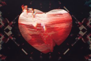 heart, Glitch art, Abstract, Red
