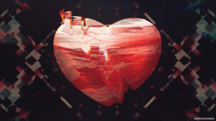 heart, Glitch art, Abstract, Red HD Wallpaper Desktop Background