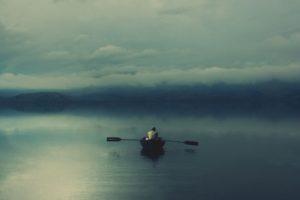 boat, Lake, Mist, Isolation