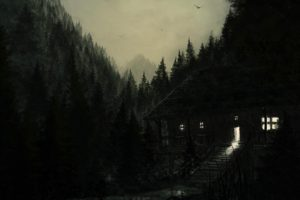 artwork, Dark, Mountains, Forest