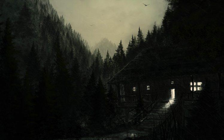 artwork, Dark, Mountains, Forest HD Wallpaper Desktop Background
