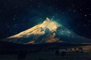 mountains, Sky, Stars, Mount Fuji