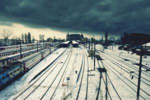 railway, Train, Winter, Snow