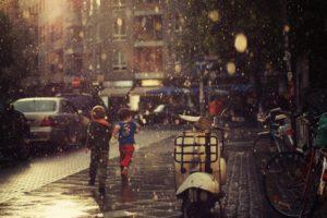children, Rain, Street, Cityscape