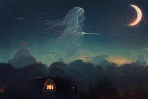 artwork, Ghost, House, Moonlight