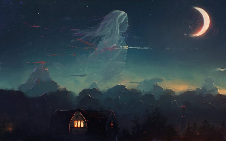 artwork, Ghost, House, Moonlight HD Wallpaper Desktop Background