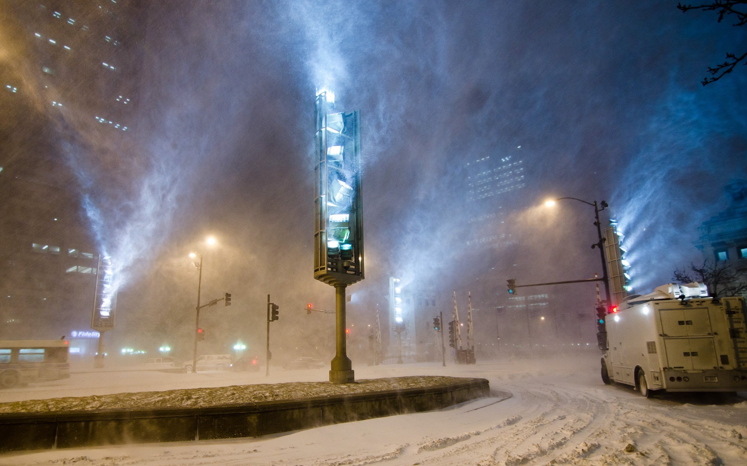 Snow Winter Lights Night Chicago Hd Wallpapers Desktop And