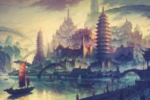 artwork, China Town, Drawing, Ancient