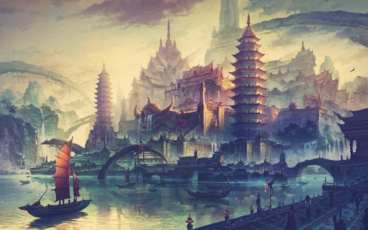 artwork, China Town, Drawing, Ancient HD Wallpaper Desktop Background