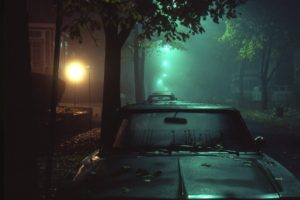 night, Lights, Mist, Car, Street