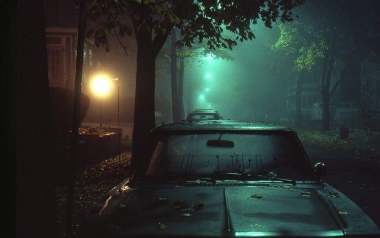 night, Lights, Mist, Car, Street HD Wallpaper Desktop Background