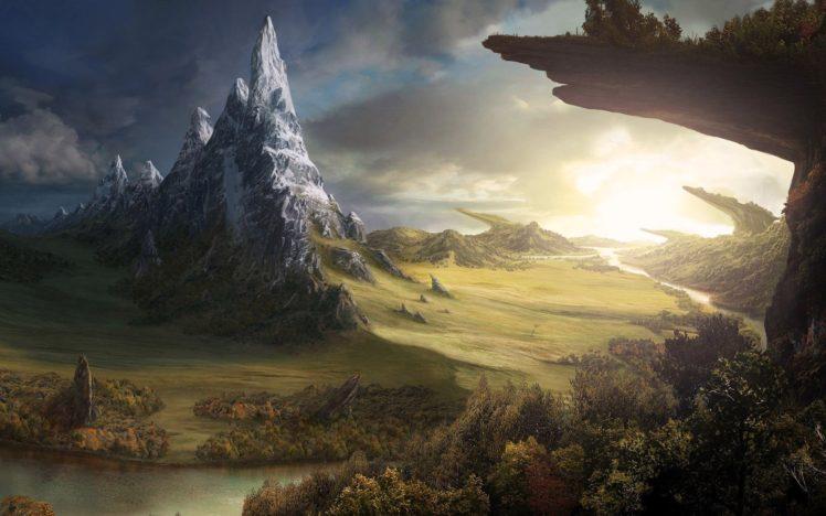 artwork, Landscape, Mountains, Plants HD Wallpaper Desktop Background